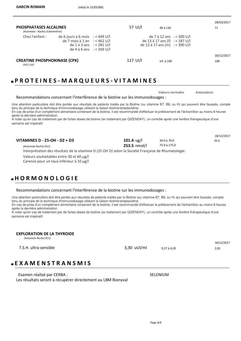 Résultats analyses de sang 31 mai 2019 RG-4