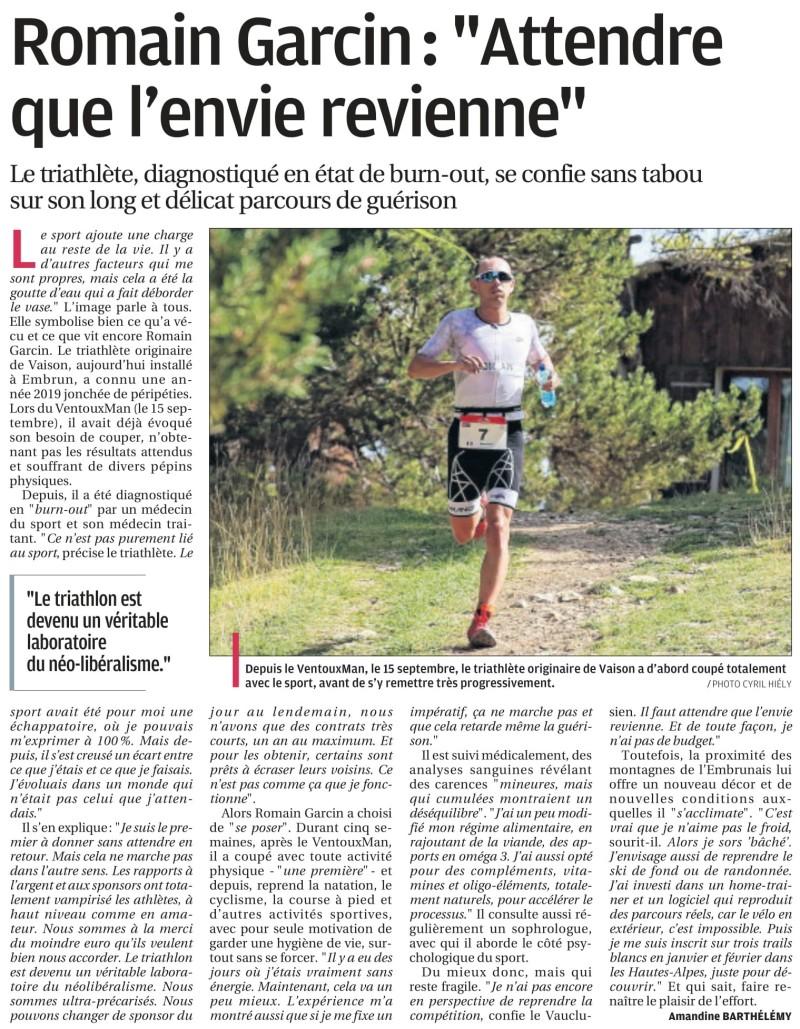 Article d'Amandine Barthelemy La Provence 21 décembre 2019